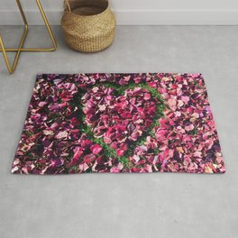 Heart of Love | Red and Pink Fall Leaves Hand Drawn Heart Shape Design Rug