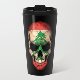 Dark Skull with Flag of Lebanon Travel Mug
