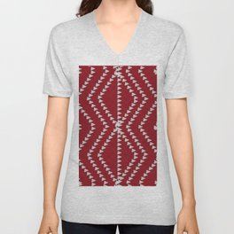 Bright Burgundy Red Geometric Unisex V-Neck