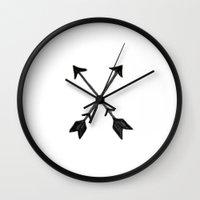 arrow Wall Clocks featuring Arrow  by Emma Winton
