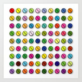 Multi-coloured Pills Pattern square Art Print