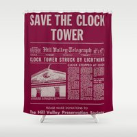back to the future Shower Curtains featuring Back To The Future  by AUTOMATIXX