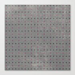 Abstract vintage pink coral gray polka dots pattern Canvas Print