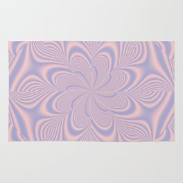 Whirly Bloom Fractal in Rose Quartz and Serenity Rug