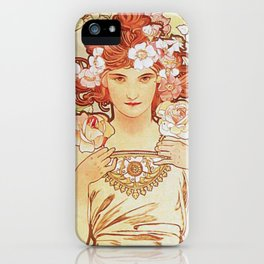 Rose by Alphonse Mucha 1897 // Vintage Girl with Red Hair Floral Love Design iPhone Case