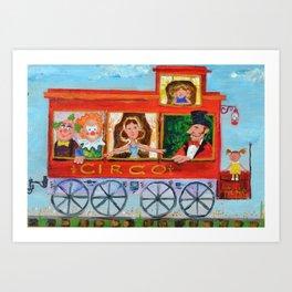 The Cabus of my Daughters' Circus Train El Cabus del Tren del Circo de mis Hijas Art Print