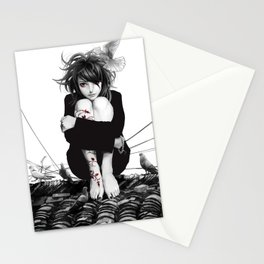 aGirl w/rooftop&vineTattoo Stationery Cards