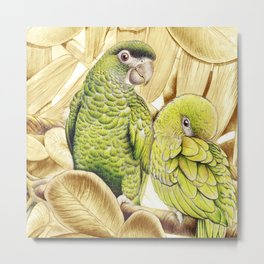 Green Macaws Metal Print