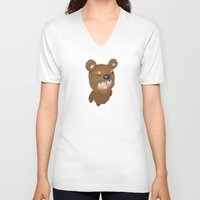 furry V-neck T-shirts featuring Furry baby by Metin Seven