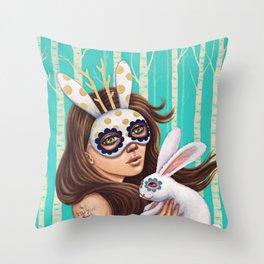 Jackalope and Bunny Throw Pillow