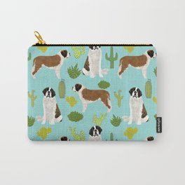 Saint Bernard dog breed pet friendly cactus southwest unique dog gifts Carry-All Pouch