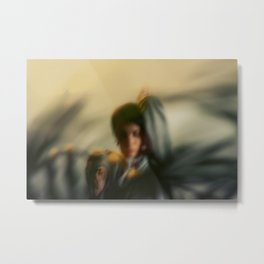 Blurred woman, dancer with plants, shadows, forest Metal Print