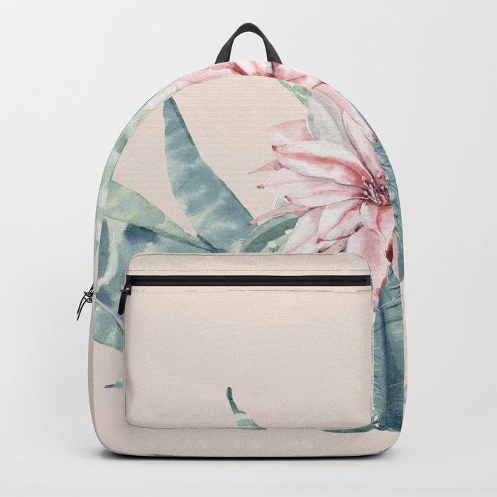 Aloe Cactus Rose Pink Backpack