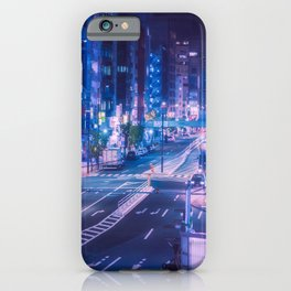 Shibuya night, purple and futuristic vibes iPhone Case