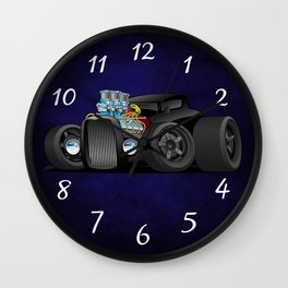 Hot Custom Black Street Rod Coupe Wall Clock