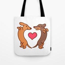 Cute cartoon dachshunds in love Tote Bag