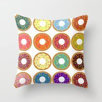 donuts Throw Pillows featuring Donuts!! by Ron (Rockett) Trickett