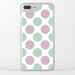 Dark pink, green and white striped texture polka dots pattern Clear iPhone Case