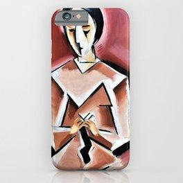 Josef Capek - Woman knitting stockings - Digital Remastered Edition iPhone Case