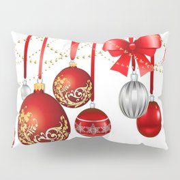 ORNATE HANGING RED CHISTMAS TREE DECORATIONS Pillow Sham