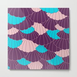 Scallop Abstract - Purple, Pink, Blue Metal Print
