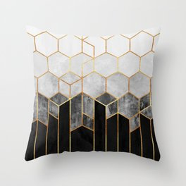 Charcoal Hexagons Throw Pillow