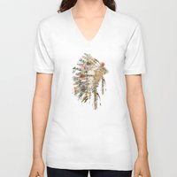 headdress V-neck T-shirts featuring headdress by bri.buckley
