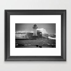Ardrossan Lighthouse Versus the Sea Framed Art Print