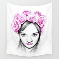 crown Wall Tapestries featuring Flower crown by Creadoorm