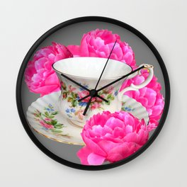 FLORAL TEA CUP & PEONY FLOWERS YELLOW ART Wall Clock