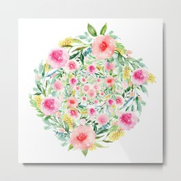 Bouquet OF flowers PINK & YELLOW - PAINTED - watercolor Metal Print