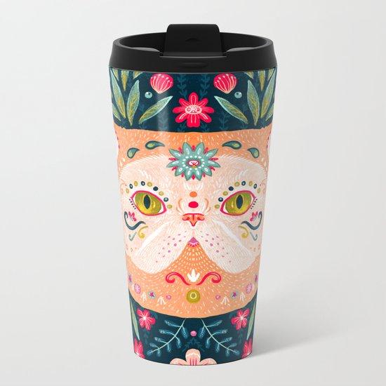 Candied Sugar Skull Kitty Metal Travel Mug
