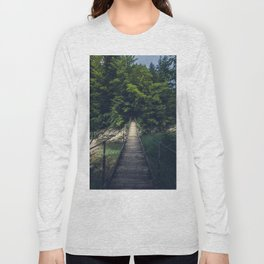 Simple suspension bridge over river Idrijca, Slovenia Long Sleeve T-shirt