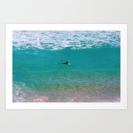 Surfer paddling to the surf at Bronte Beach. Sydney. Australia. Art Print