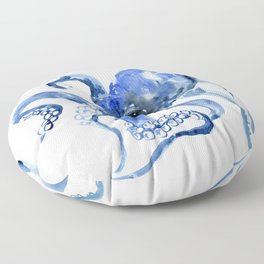 Navy Blue Octopus Artwork Floor Pillow