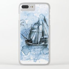 In the Blue Mist Clear iPhone Case