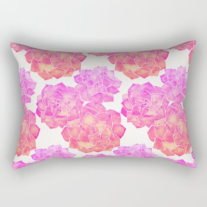 Rosette Succulents – Pink Palette Rectangular Pillow