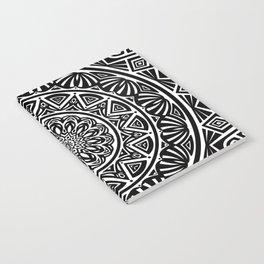 Black and White Simple Simplistic Mandala Design Ethnic Tribal Pattern Notebook