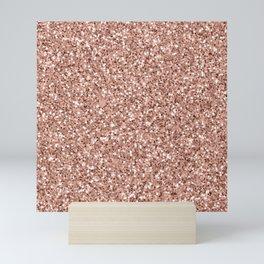 Rose gold glitter pattern Mini Art Print