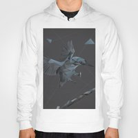 polygon Hoodies featuring Polygon Kingfisher by Andrew Mason
