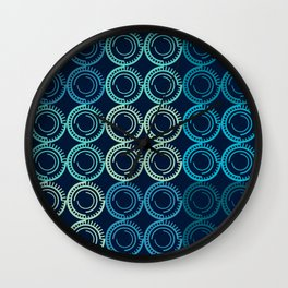 Blue Circles Abstract Pattern Wall Clock