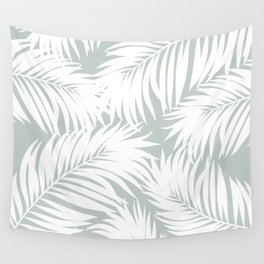 Palm Tree Fronds White on Rainwashed Maui Hawaii Tropical Graphic Design Wall Tapestry