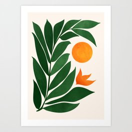Tropical Forest Sunset / Mid Century Abstract Shapes Art Print