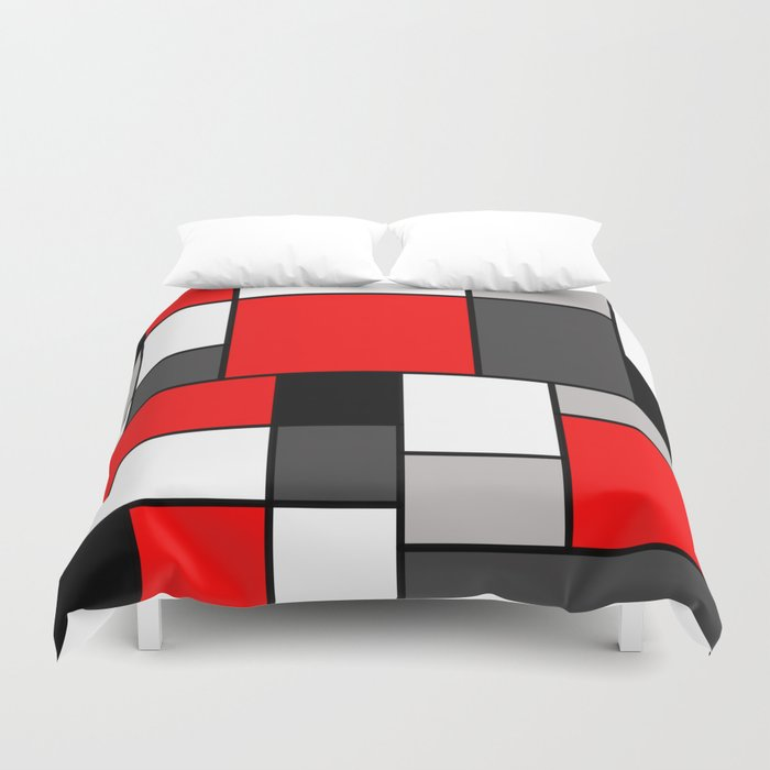 Red Black and Grey squares Bettbezug