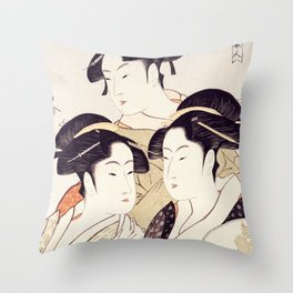 Three Beauties of the Present Day - Japanese Woodblock Print Throw Pillow