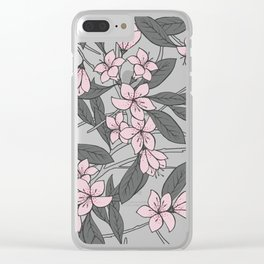 Sakura Branch Pattern - Ballet Slipper + Neutral Grey Clear iPhone Case