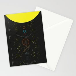 Solar System with Planet Names Stationery Cards