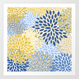 Modern, Floral Prints, Summer, Yellow and Blue Art Print