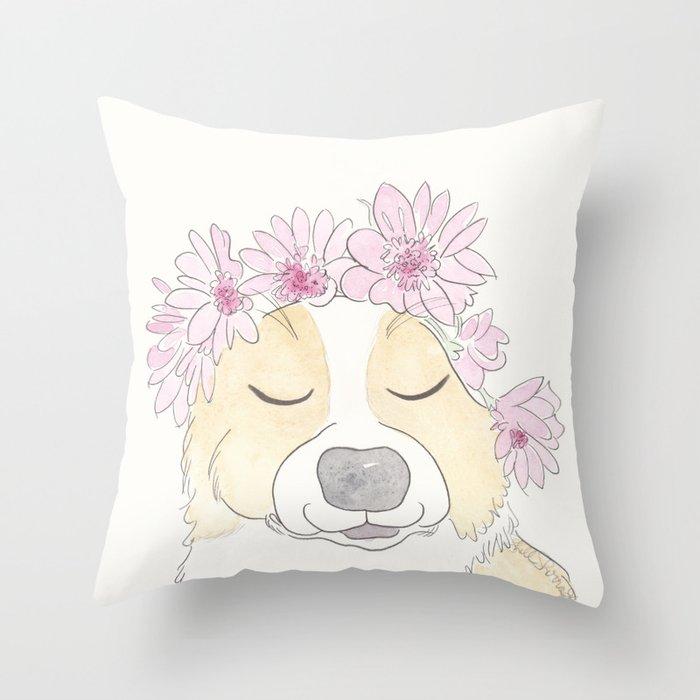 Adorable Corgi with Pink Flower Crown Throw Pillow