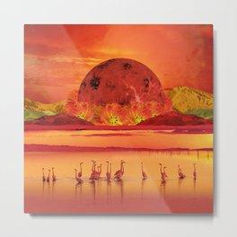 Flamingos sunset Metal Print